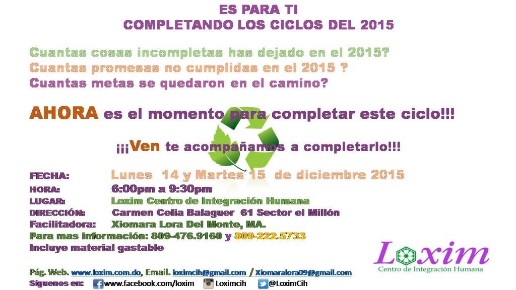 COMPLETANDO LOS CICLOS DEL 2015